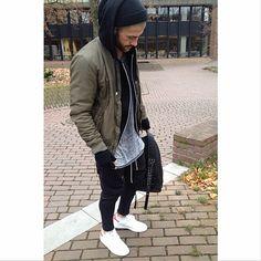 """Campus Jacket: pull&bear Shirt: h&m Pants: @favelaclothing Shoes: adidas stan smith"""