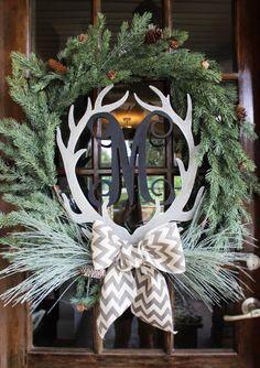 Wooden Monogram Antler Wreath // Winter Front Door Wreath // After Christmas Country Christmas, Winter Christmas, All Things Christmas, Christmas Holidays, Christmas Decorations, Real Christmas Wreath, Christmas Wreaths For Front Door, Christmas Ideas, Holiday Crafts