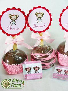 manzanitas con chocolate para baby shower