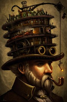 One simply just never get tired of astonishing steampunk artworks. In short one can say that Steampunk is a fusion of tech and fantasy. Diesel Punk, Steampunk Hut, Steampunk Fashion, Steampunk Crafts, Cyberpunk, Steampunk Illustration, Illustration Art, Steampunk Artwork, Steampunk Images