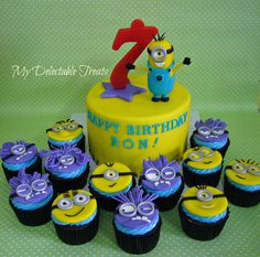 Minions themed cake and cupcakes for Ron