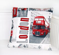 London cushion cover UK bus telephone box by LittleJoobieBoo