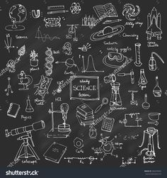 Freehand drawing school items Back to School Science theme Hand drawing set of school supplies sketchy doodles vector illustration, doodles, science, physics, chemistry, biology, astronomy, blackboard