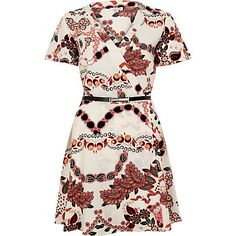 White printed belted wrap dress $76.00