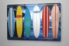 Cartel De Chapa Decoracion De La Pared Diversión Tablas de surf en la playa Metal Letrero De Pared 20X30 cm: Amazon.es: Hogar