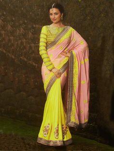 Light Pink And Yellow Silk Saree With Zari And Stone Work #wedding #saree