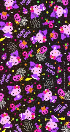 Hello kitty wallpaper uploaded by lala_p on We Heart It Hello Kitty Backgrounds, Hello Kitty Wallpaper, Kawaii Wallpaper, Sanrio Wallpaper, Holiday Wallpaper, Fall Wallpaper, Wallpaper Backgrounds, Halloween Wallpaper Iphone, Hello Kitty Halloween