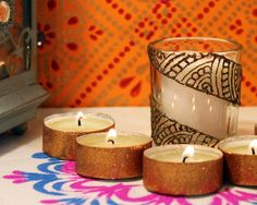 Henna Party Gifts : Pink scented henna candle wedding favors party