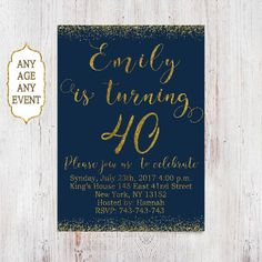 navy and gold glitter 40th birthday invitation for women, glitter birt
