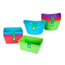 Colorful Plastic Storage Bins with Handles, 4-ct. Packs