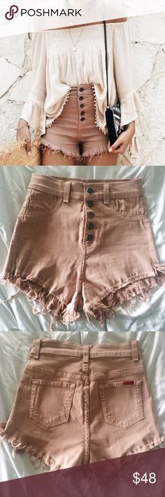 Blush High Waisted Button Up Denim Shorts Amazing! Never worn. Super stretchy. Size small, would best fit a 25-26. Sold out style! WINDSOR Shorts Jean Shorts
