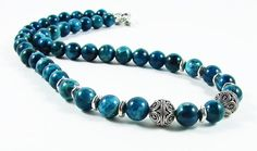 Blue Apatite Bali Bead Necklace by ChiavariDesigns on Etsy, $100.00