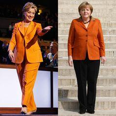 Pin for Later: Angela Merkel oder Hillary Clinton: Wer ist modischer? Orange