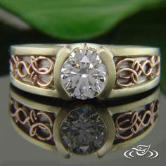 Unique Celtic 3-Tone Engagement Ring. This 14k White Gold Mounting has 14k Green Gold Rails and Half Bezel with Hand Fabricated 14k Rose Gold Celtic Filigree Knots