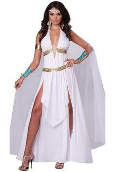 Womens #Adult Deep V Side Slit Roman #Toga #Costume White