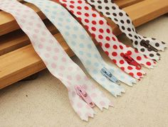 YKK Polka Dots Zippers 10pcs pack by atelier608 on Etsy, $9.80 - these zippers!!!
