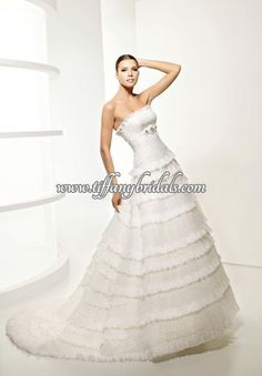 Dropped Waist Chest wrap Strapless Ruched Chiffon elegant A-Line long Wedding Dresses La Sposa Wedding Dresses, Wedding Dress Styles, Bridal Gowns, Bride Dresses, Wedding Looks, Wedding Bride, Lace Wedding, Dress P, Wedding Inspiration