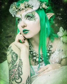 Beautiful tattooed fairy/elf cosplay makeup. The eye esign is just amazing!