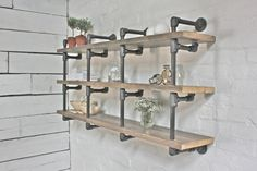Bespoke Reclaimed Scaffolding Boards and Dark Steel Pipe Wall Hung Shelving/Bookcase/Bathroom Shelving - made to order industrial furniture