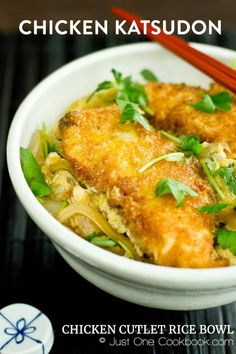 Golden fried crispy chicken katsu served with savory dashi sauce and eggs over rice. Garnished with wild parsley. Easy Japanese Recipes, Japanese Dishes, Japanese Food, Asian Recipes, Healthy Recipes, Indonesian Recipes, Japanese Chicken, Orange Recipes, Vietnamese Recipes