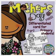 This printable Mother's Day Differentiated & #free #MothersDay card, ideal for kindergarten to grade 2 students to color, fold into a stand and paste or write a message into.