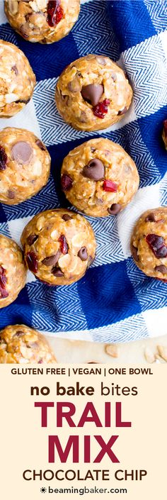 No Bake Chocolate Chip Trail Mix Energy Bites (V, GF, DF): a one bowl recipe for protein-packed energy bites bursting with whole ingredients. Best Gluten Free Recipes, Gf Recipes, Good Healthy Recipes, Delicious Vegan Recipes, Vegan Gluten Free, Whole Food Recipes, Snack Recipes, Yummy Food, Protein Recipes