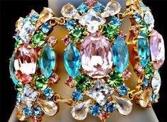 Vintage Pink Blue Rhinestone Bracelet Runway High End Gold Prong Set Christmas | eBay