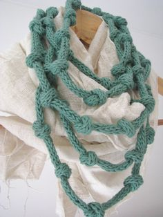 Mint green necklace knitted jewelry eco cotton por tricotaria