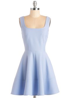 Met with Splendor Dress in Periwinkle. Your sweetie is keeping the location of tonights romantic rendezvous under wraps - so you dress for any occasion in this pastel periwinkle A-line! #blue #modcloth