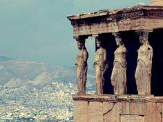 The Caryatids (Ladies in Waiting) Acropolis, Athens, Greece.