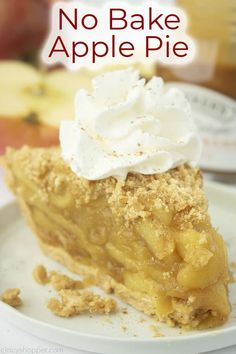 No Bake Apple Pie needs no oven to taste great! A graham cracker crust and homemade apple pie filling are all you need for this easy pie recipe. Apple Pie Recipe Easy, Homemade Apple Pie Filling, Easy Pie Recipes, Apple Pie Recipes, Snack Recipes, Dessert Recipes, Graham Cracker Recipes, Homemade Graham Crackers, Graham Cracker Crust