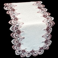 Christmas Table Runner White Cut Lace Candles Poinesttias Shabby Cottage Chic