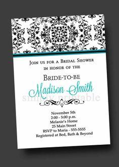 Damask Bridal Shower Invitation Blue (Digital File)