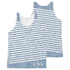 #monogram - #Personalize:  USA Blue and White Patriotic Stripes All-Over-Print Tank Top