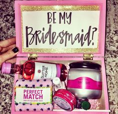 """Will you be my bridesmaid?"" surprise box"