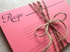 recipe cards  coral bridal shower gift hostess by withluvdesign, $7.50
