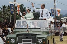 Queen Elizabeth II and Prince Philip in Fiji during their royal tour, February 1977.