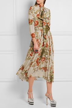 Gucci for NET-A-PORTER - Pleated Floral-print Silk Midi Skirt - Ecru - IT