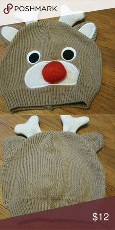 NWOT ADORABLE REINDEER HAT Nice and warm cotton blend. Totally adorable, with antlers, eyes, ears and nose Bought at a little boutique shop in Wisconsin Never worn Accessories Hats