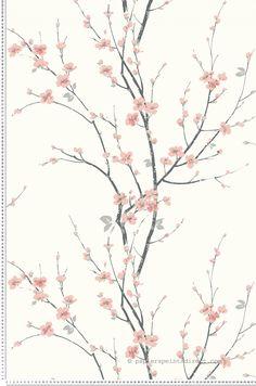 Papier peint Cerisier blan - collection Chinoiserie d'Initiales : Papier peint chambre, entrée, pièce à vivre fleurs