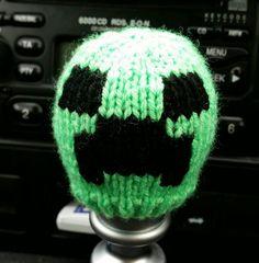 Minecraft Creeper style Gear Knob Beanie Hat by NutkinsKnits