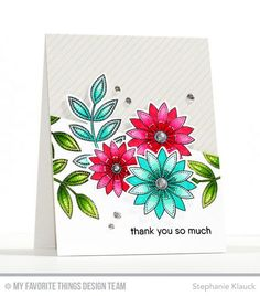 Handmade card from Stephanie Klauck featuring Funky Flowers Stamp Set and Die-namics, Grateful for You stamp set, Diagonal Stripes Background stamp #mftstamps