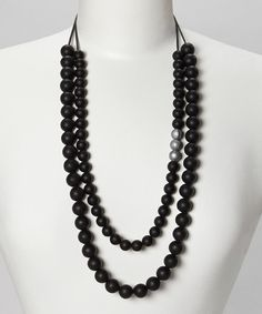 Love this Black & Silver Audrey Teething Necklace by Droolery by emmi & olive on #zulily! #zulilyfinds