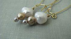 Pearl drop earrings dangle earrings gold ombré by PersimmonPearl, $25.00