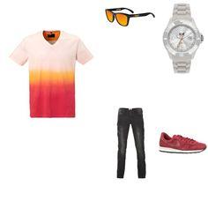 Rood Look outfit - Urban fashion - Clooy.nl OUTFIT TOTAALPRIJS: € 382,99 Deze look is geïnspireerd op zomerse kleuren en is perfect voor een mooi zomerdag. Het T-shirt van C&A heeft een prachtig kleurverloop wat zorgt voor een opvallende look. De zwarte jeans van H.E. by Mango is stoer en basic. De sneakers van Nike sluiten goed aan op het T-shirt. De look wordt afgemaakt door een horloge van Ice-Watch en een zonnebril van Oakley.