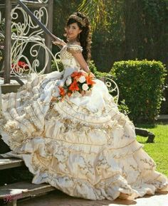 Ideas for Discovering the Perfect Quinceanera Dress. Probably the most significant aspect of a quinceanera for a girl is her gown! Mariachi Quinceanera Dress, Mexican Quinceanera Dresses, Mexican Dresses, Xv Dresses, Quince Dresses, Prom Dresses, Wedding Dresses, Puffy Dresses, Sweet 16 Dresses