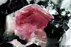 Pezzottaite - a rare form of pink beryl discovered in Madagascar in 2002. Also known as rasberry beryl or rasberyl. More info on this specimen can be found here: http://www.mindat.org/photo-115743.html