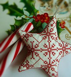 Nordic cross stitch star, white and red  candy canes white and red