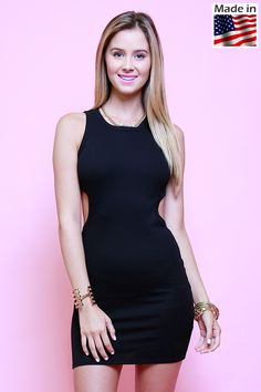 Lumiere Fashion DR5193(800602) sleeveless ribbed knit tank mini dress with cut out sides.