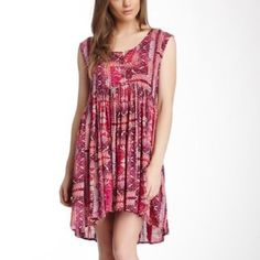 """Free People Sundress New with tags.  Combination of pinks make up this fun, boho, geometric print dress, perfect to transition in to Spring and Summer!  Oversized, relaxed fit. Measures approx 31"""" in front and 33"""" in back. Fully lined (detachable).  Rayon. Size Small.  No trades. Free People Dresses"""